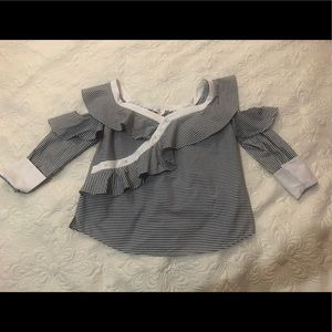 Laundry by Shelli Segal stripped ruffle top